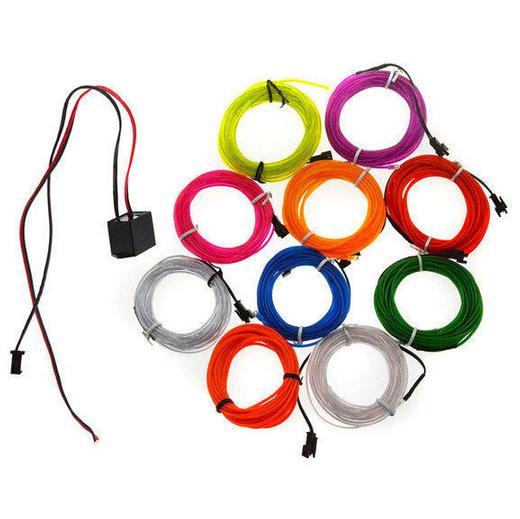 5M Flexible Neon EL Wire Car Decor LED Light Battery Party Light 2pcs