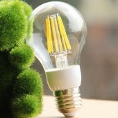 4W 6W 8W E27 LED Filament Bulb Clear Glass A60 Ball Lamp
