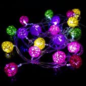 Sepak Takraw Christmas Light String 4M 20 LED Cotton Fabric Ball Lamp